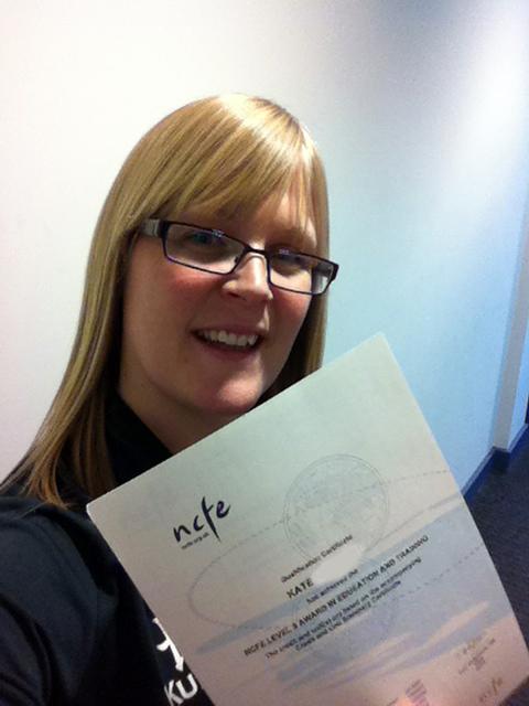 Certificate Selfie Kate Murdoch March 2015