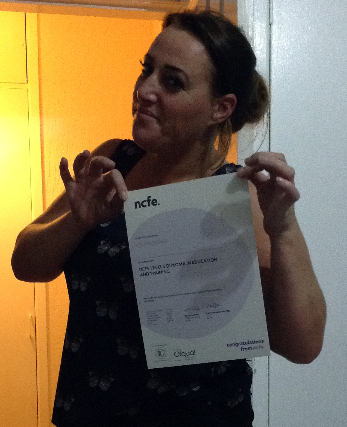 Helen Morris Certificate Selfie
